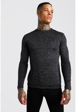 Black Muscle Fit Textured Knitted Jumper