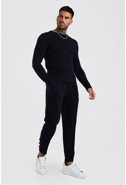 Smart Knitted Pin Tuck Jogger Set, Navy