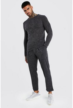 Smart Knitted Pin Tuck Jogger Set, Charcoal