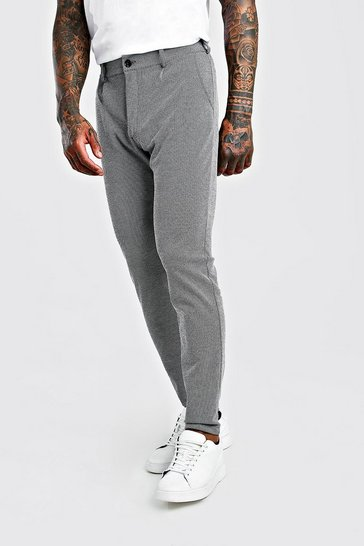 Grey Herringbone Skinny Fit Trouser