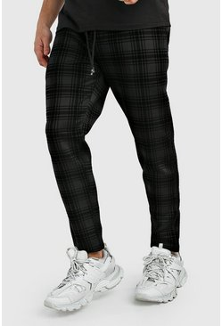 Black Smart Cropped Check Flock Print Jogger Trouser