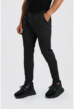 Pinstripe Skinny Fit Trouser, Black