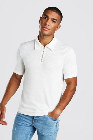 White Soft Waffle Knitted Zip Through Polo