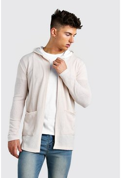 Knitted Hooded Edge To Edge Cardigan, Ecru