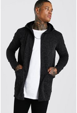 Knitted Hooded Edge To Edge Cardigan, Dark grey