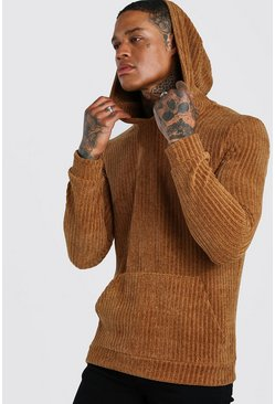Chenille Over The Head Hoodie, Tan