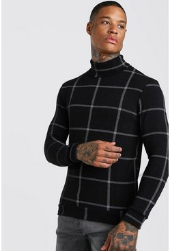 Check Roll Neck Muscle Fit Jumper, Black