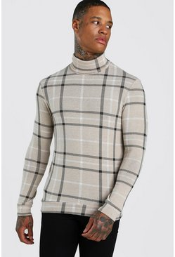 Beige Check Roll Neck Muscle Fit Jumper