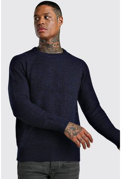 Navy Raglan Ribbed Knitted Jumper