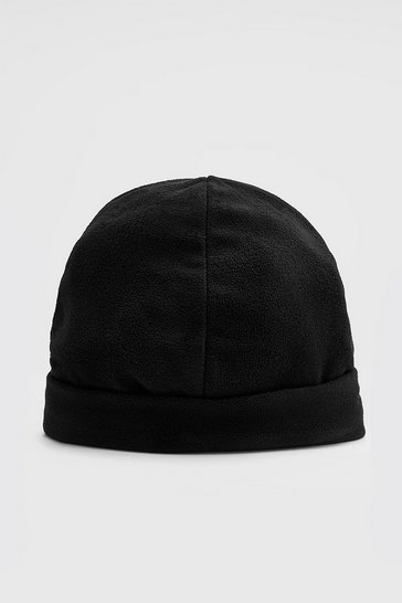 Black Polar Fleece Beanie With Turn Up