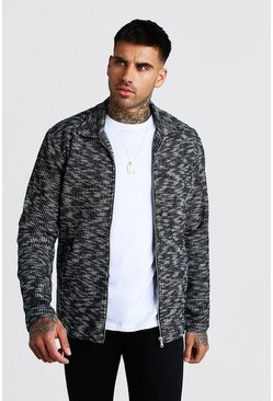 Dark grey Wool Look Zip Through Over Shirt