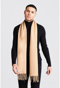 Beige Oversized Brushed Scarf