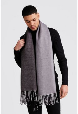 Grey Two Colour Brushed Scarf