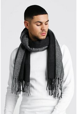 Oversized Herringbone Check Scarf , Charcoal