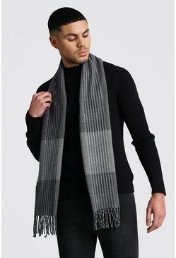 Grey Striped Detail Check Scarf
