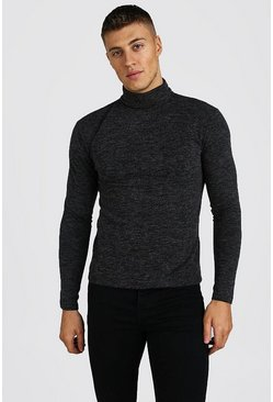 Grey Muscle Fit Soft Touch Knitted Roll Neck Jumper