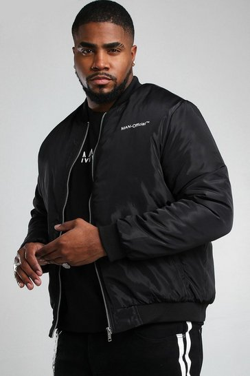 Black Big And Tall MAN Official Back Print Bomber