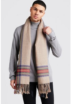 Camel Check Edge Brushed Scarf