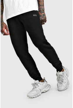 Black MAN Dash Slim Fit Ruched Joggers