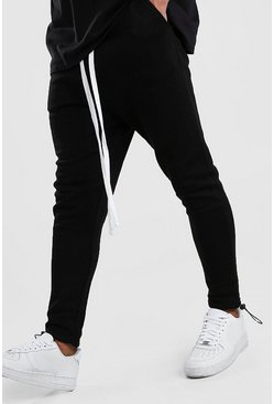 Black Drop Crotch Jogger With Extended Drawcords