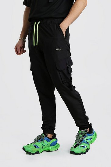 Black Original MAN Shell Buckle Jogger With Drawcords