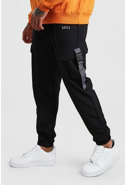 Original MAN Shell Buckle Joggers With Strap, Black