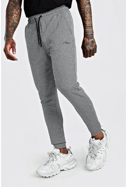 Black MAN Signature Jacquard Super Skinny Cuffed Jogger