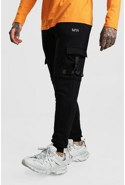 Black Original MAN Cargo Joggers With Strap Detail