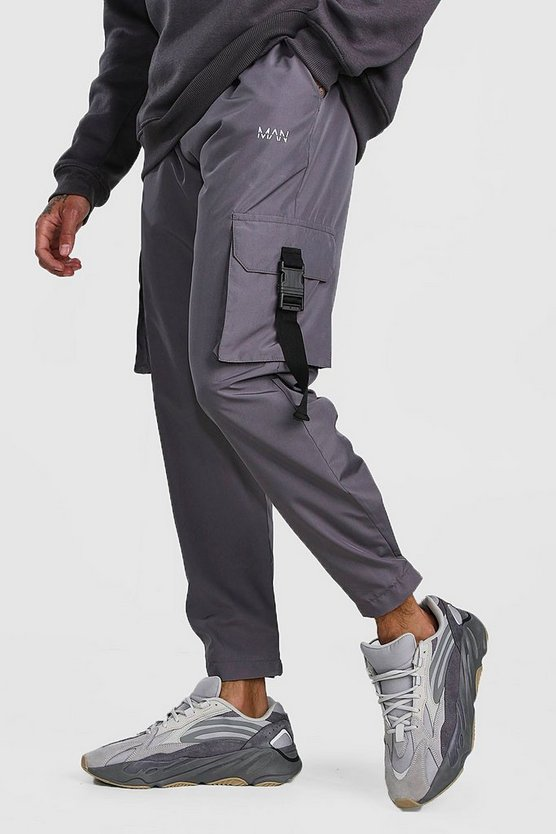 Charcoal MAN Shell Buckle Cargo Joggers With Cuffs