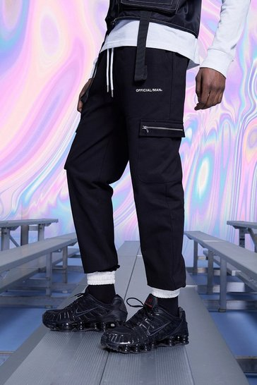 Black Official MAN Cargo Joggers With Contrast Cuffs