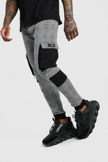 Grey Check Jacquard Cargo Jogger With MAN Badge