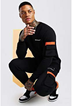 Black MAN Official Contrast Utility Sweater Tracksuit