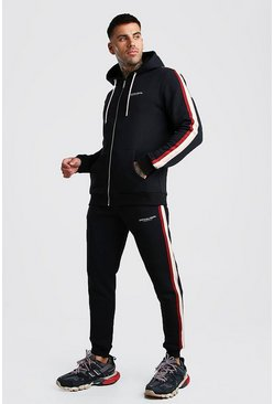Black Official MAN Zip Hooded Tracksuit With Tape