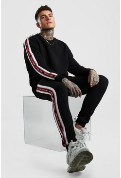 Black Official MAN Tape Sweater Tracksuit With Panels