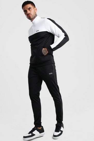 Black MAN Half Zip Poly Tracksuit With Reflective Tape
