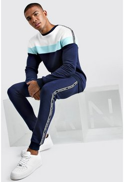 Navy Colour Block Sweater Tracksuit With MAN Tape