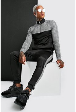 Black MAN Half Zip Jacquard Colour Block Poly Tracksuit