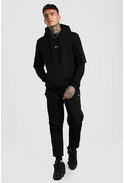 Black Original MAN Cargo Hoodie & Twill Jogger Set
