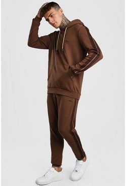 Brown MAN Signature Scuba Hooded Tracksuit With Tape