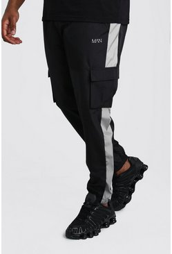 Pantalones de correr estilo militar de shell Big And Tall, Negro