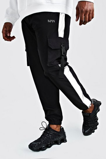 Black Big And Tall MAN Shell Buckle Jogger