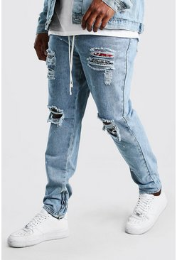 Big And Tall Rip And Repair Skinny Jean  , Pale wash