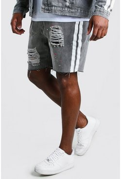 Charcoal Big And Tall Relaxed Side Stripe Denim Short