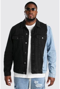 Chaqueta denim de bloques de color Big And Tall, Negro desteñido