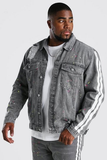 Charcoal Big And Tall Denim Jacket With Side Stripe