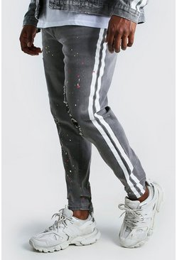 Charcoal Big And Tall Skinny Jean With Side Stripe