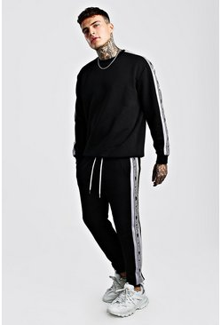 Grey Official MAN Tape Sweater Tracksuit With Panels