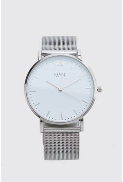 Silver MAN Dash Mesh Strap Watch