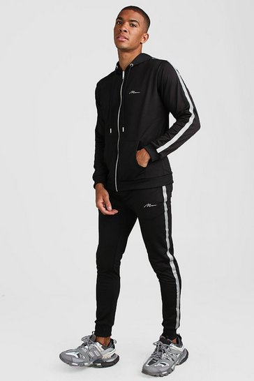 Black MAN Signature Tricot Tracksuit With Reflective Tape
