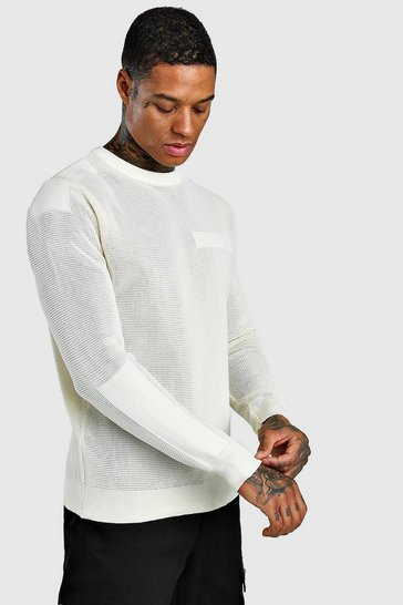 Cream Knitted Crew Neck Jumper With Utility Detail